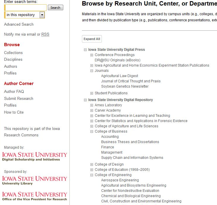 Example of faceted searching in the ISU institutional                   repository interface.